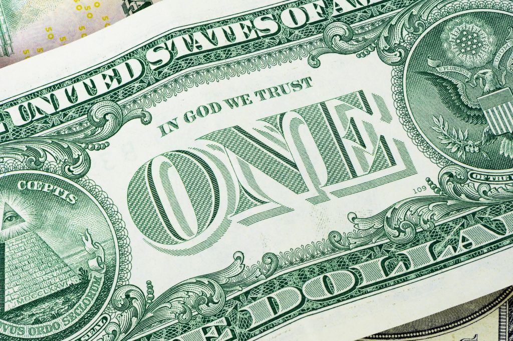 Closeup of 1 dollar banknote