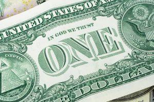 Closeup of 1 dollar banknote